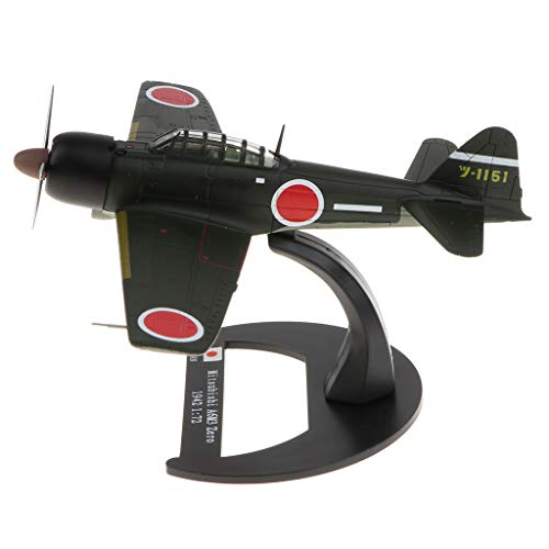 B Blesiya 1:72 Scale WWII Japan Mitsubishi A6M3 Zero Fighter Plane Aircraft Destroyer Diecast Army Model Collection ()