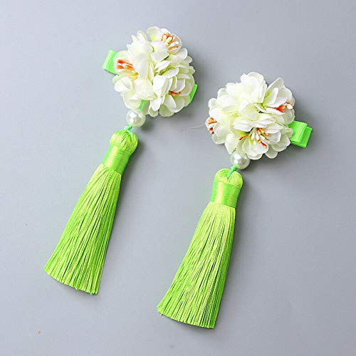 1Pair Chinese Style Fur Pompom Ball Hair Clips Tassel Hairpin Hanfu Headwear New (Color - Style-4 Green)