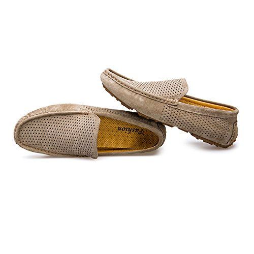 Guida Hollow Mocassini Khaki da Uomo Mocassini Pelle da Cricket Upper da Barca in Scarpe Vera da RRnrqIU15