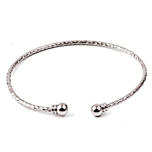 le Adjustable Bead Cute Ladies Gift Fashion Carved Bangle Bracelet (White Gold Bangle)