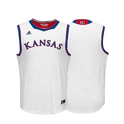 (adidas Kansas Jayhawks NCAA Blank White Replica Basketball Jersey (S))