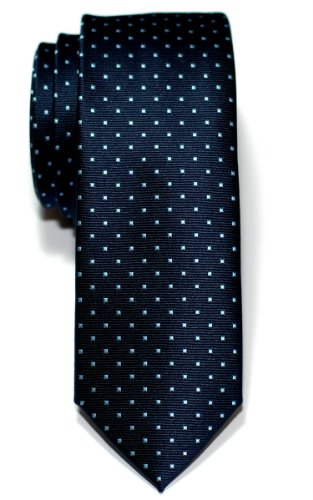 - Retreez Pin Dots Woven Microfiber Skinny Tie - Navy Blue with Light Blue Pin Dots