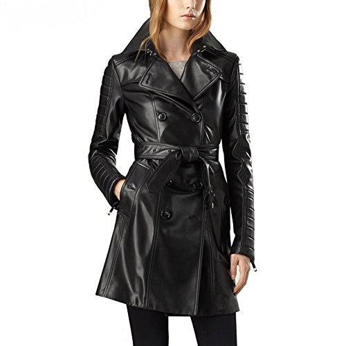 (Leather Hubb Women's New ZELAND Lambskin Walking Leather Long/Trench Coat Overcoat Jacket, Black, Medium)