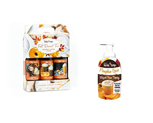 Fall Dessert Syrup Trio | 3 Bottles Including Pumpkin Cinnamon Roll, Maple Donut and Pumpkin Caramel Scone | PSL Jordans Skinny Syrup PLUS Pumpkin Spice Whipped Foam Topping | All Sugar Free by Jordans Skinny Mixes Sets