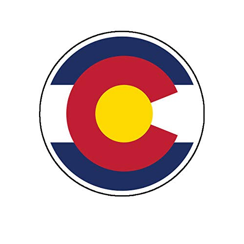 Morgan Graphics Colorado C Logo Round Flag Sticker Die Cut Decal CO Denver Boulder Fort Collins Vinyl Decal Sticker Car Waterproof Car Decal Bumper Sticker 5
