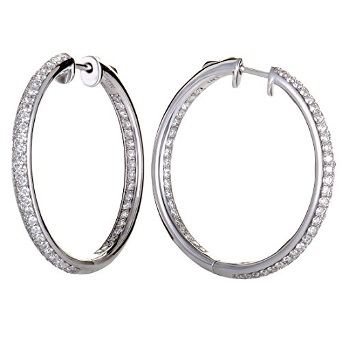 2.1 Carat (ctw) Round Diamond Pave Hoop Earrings in 14K White Gold; 2.10 CT White Diamonds (G Color, SI1-SI2 Clarity) in 1.25'' Hoops by Luxury Bazaar