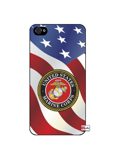 United States Marine Corps American Flag iPhone 4 Quality Hard Snap On Case for iPhone 4 4S 4G - AT&T Sprint Verizon - Black Frame