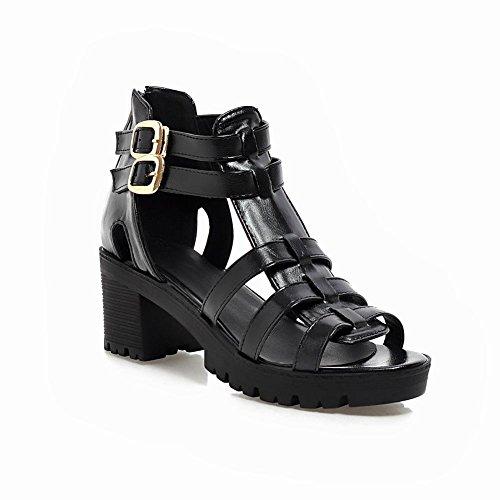 Carol Shoes Chic Womens Buckles Fashion Zipper Casual Retro Mid Sandalo Con Tacco Grosso Nero