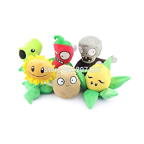 RAFGL 6Pcs/Lot 13-25Cm Anime Plant Vs Zombies Toys G Zombie Peashooter Pepper Sun Wer Corn Potato PVZ Plush Toy Dolls Must Have Toys Friendship Gifts The Favourite Anime 5T Superhero Girls by RAFGL