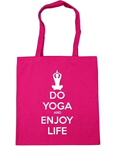 HippoWarehouse Do Yoga und Enjoy Leben Einkaufstasche Fitnessstudio Strandtasche 42cm x38cm, 10 liter - Fuchsia, One size