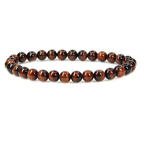 Bracelets Orange Genuine (Natural AA Red Tiger Eye Gemstone 6mm Round Beads Stretch Bracelet 7