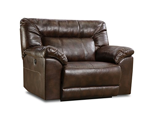 Simmons Upholstery 50571PBR-195 Abilene Power Cuddler Recliner Tobacco (Chair A Leather Half And Recliner)