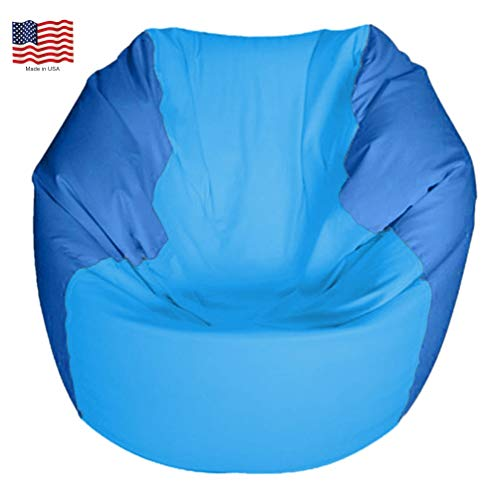 JoyBean Outdoor Bean Bag Chair - Water Resistant Marine Vinyl Ideal for Yacht Boat Pool Patio Garden Marine - Lawn Chair - Patio Furniture - for Adults Teens Kids (Round SkyBlue/Oceanblue, Medium)