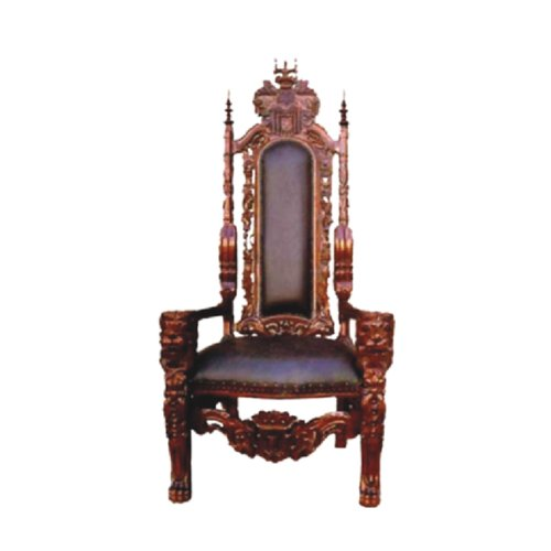 Offex Mahogany Solid Wood Lion King Comfort Majestic Arm Chair
