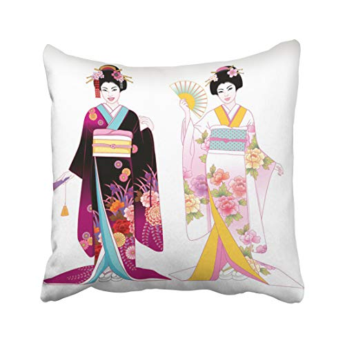 Emvency Decorative Throw Pillow Case Cushion Cover Red Dress Beautiful Japanese Girls in Kimono Costume Chinese People Traditional Fan 18x18 Inch Cases Square Pillowcases Covers Two Sides Print