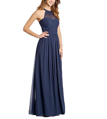 Beauty Bridal Halter Prom Gowns Elegant Chiffon Long Bridesmaid Dresses (12,Navy blue)