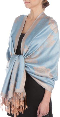 FUPashRose06AG Lightweight Two Tone Rose Floral Design Pashmina Fringe Scarf / Stole / Wrap - Powder Blue / Beige Rose Tone Light