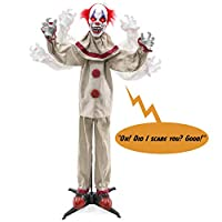 Best Choice Products Scary Harry The Motion Activated Animatronic Killer Clown, Halloween Prop w/Pre-Recorded Lines, Red Light Up Eyes, Moving Arms & Head