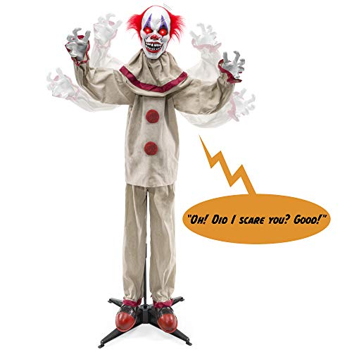 Scary Halloween Animatronics (Best Choice Products Scary Harry The Motion Activated Animatronic Killer Clown, Halloween Prop w/Pre-Recorded Lines, Red Light Up Eyes, Moving Arms &)