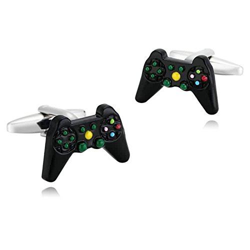 Gnzoe Men Stainless Steel Black Computer Video Game Controller Pair Shirt Cufflinks with Gift - Friday Tiffany Sale Black