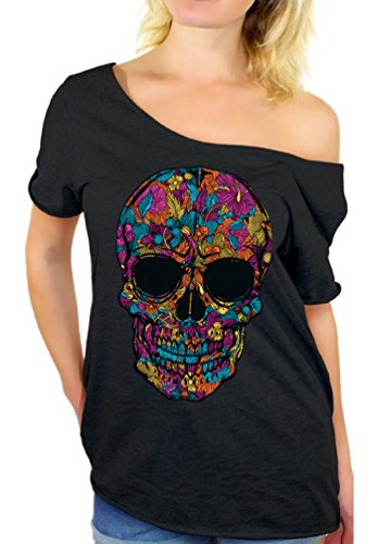 Skull Womens Tee - Awkward Styles Black Flower Sugar Skull Day of Dead Off Shoulder top T-Shirt L Black