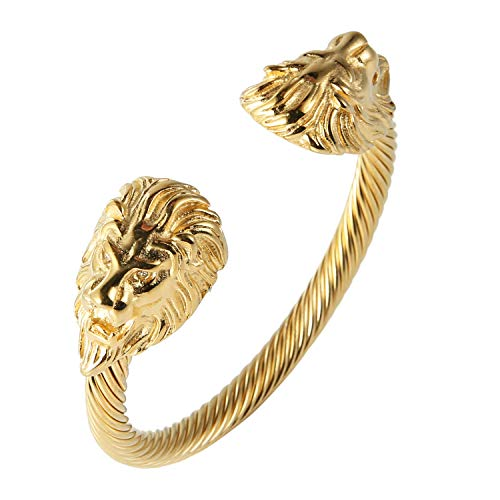 HZMAN Mens Lion CZ Eyes Bracelet Cable Wire Bangle Stainless Steel Gold Plated Biker ()