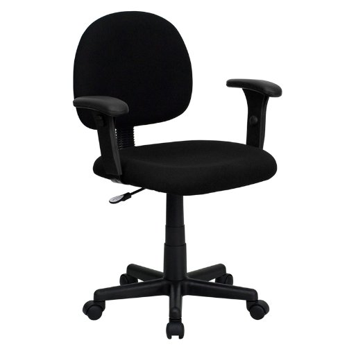 Thornton's Office Supply Low Back Ergonomic Black Fabric Swivel Task Chair with Height Adjustable Arms price