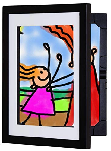 Li'l DAVINCI Art Frames: Front-Opening, EZ Store Wooden Frames That Allow You to Hold up to 50 Items in Each! (Black, 8.5 x 11) (Picture Frames Children)