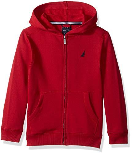 Nautica Boy's Big Fleece Full Zip Hoodie, Wilson red Rouge, Large (14/16)