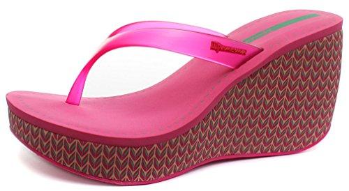 Ipanema Brasil Lipstick Thong Pink Womens Wedge Flip Flops, Size 9