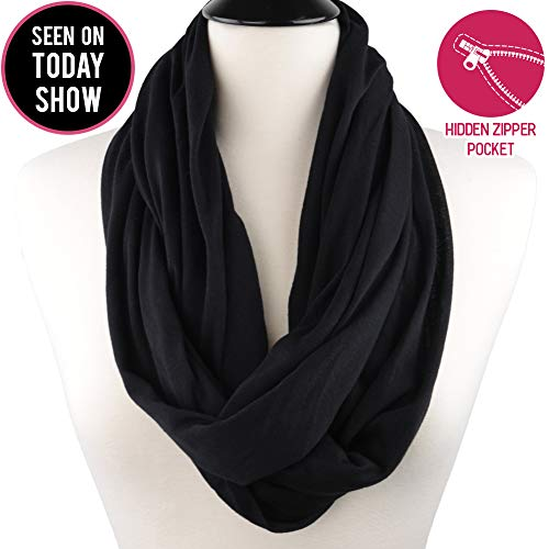 Pop Fashion Scarves for Women, Girls, Ladies, Infinity Scarf with Zipper Pocket Pattern Print Lightweight Wrap - $44.99 (Black, Medium)