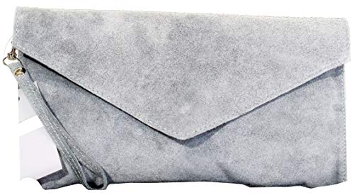 (Italian Suede Leather Hand Made Light Grey Envelope Design Clutch, Wrist, Shoulder or Crossbody Bag. Includes a Branded Protective Storage Bag)