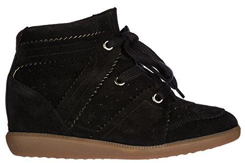 Vrouwen Van Isabel Marant Schoenen Dames Suède Schoenen Hoge Sneakers Zwarte Bobby