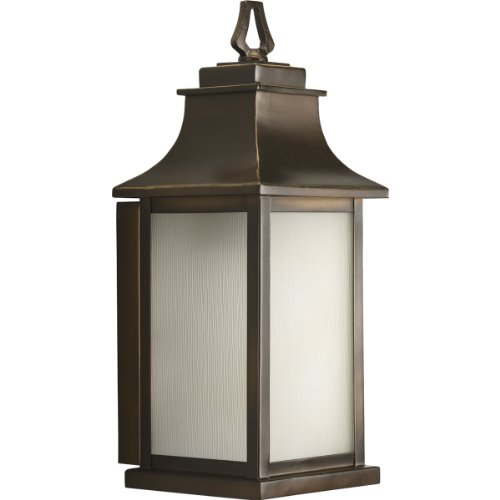 Bronze Amber Glass Lantern (Progress Lighting P5953-108 Salute One Light Outdoor Post Lantern, Oil Rubbed Bronze Finish with Etched Umber)