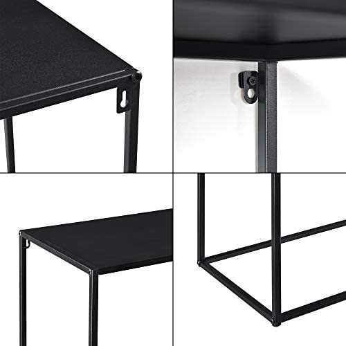 [en.casa] Console Table Coffee Table Wall Mounted Storage 74x115x32cm Metal Black Matt