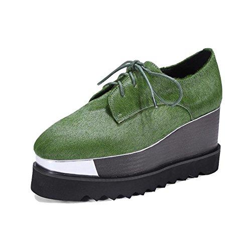 KJJDE Zapatos con Plataforma Mujeres WSXY-A2918 Sneakers Wedges Tacones Verde