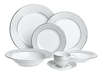 Amazon.com | Mikasa Parchment Fine China Dinnerware Set Service For 4 (20-Piece) Dinnerware Sets  sc 1 st  Amazon.com & Amazon.com | Mikasa Parchment Fine China Dinnerware Set Service For ...