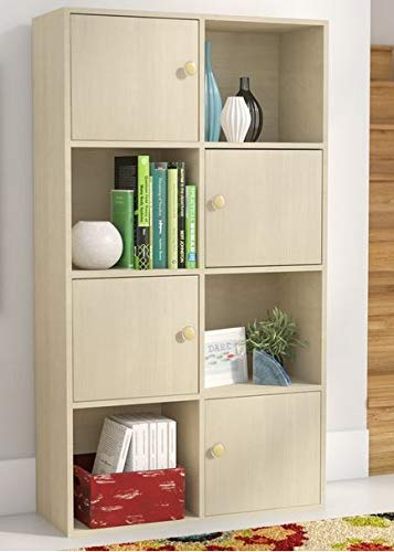 Book Cases Shelves Bookself   Vertical Freestanding Steam Beech Wood With  Four Open Cubbies Four