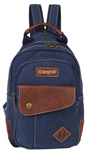 Eurosport Stylish Functionable Split Strap Sling or Backpack Canvas Bag Blue B426 (Eurosport Canvas Backpack)