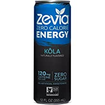Zevia Zero Calorie Energy Drink Naturally Sweetened Energy Drink, Kōla, (12) 12 Ounce Cans; Cola-flavored Caffeinated Beverage; Power up with Zevia's Delicious New Kōla with a Kick