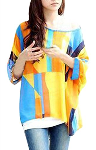 Womens Floral Batwing Sleeve Beach Loose Blouse Tunic Top