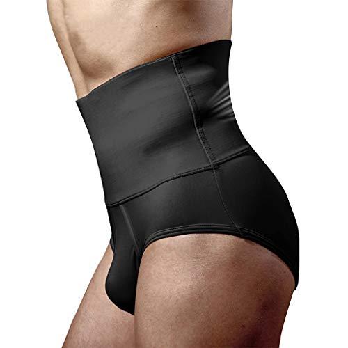 Voberry Men's Abdomen Control Shorts High Waist Slimming Underwear Seamless Belly Girdle Boxer Brief Body Shaper Black