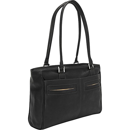 Piel Leather Ladies Laptop Tote with Pockets, Black, One Size by Piel Leather