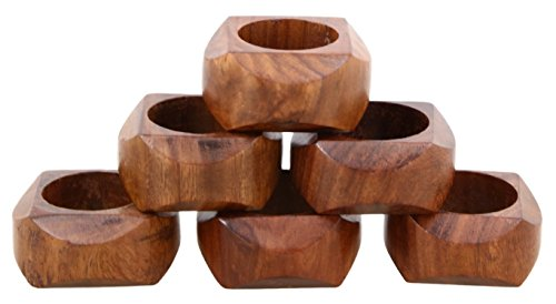 Shalinindia Handmade Artisan Crafted in India Wood Napkin Ring Set of 6