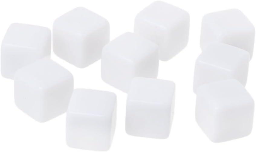 Exing Dados Dice, 10 Unids 14mm Acrílico Dados En Blanco 6 Caras del Partido De La Familia DIY Juegos De Impresión Juguetes para Niños