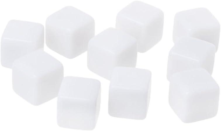 Exing Dados Dice, 10 Unids 14mm Acrílico Dados En Blanco 6 Caras del Partido De La Familia DIY Juegos De Impresión Juguetes para Niños: Amazon.es: Hogar