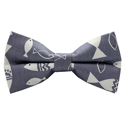 Mumusung Women's Cute Patterned Core Solid Bowtie, Gray Fish ()