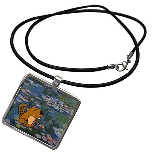 3dRose All Smiles Art - Funny - Funny Cute Beaver in Monet Water Lilies Art - Necklace with Rectangle Pendant (ncl_317013_1)