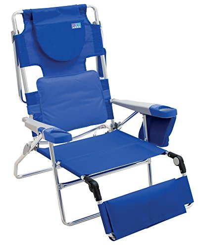 Rio Beach Face Opening Sunbed High Seat Beach Chair & Lounger, Blue (Folding Layout)