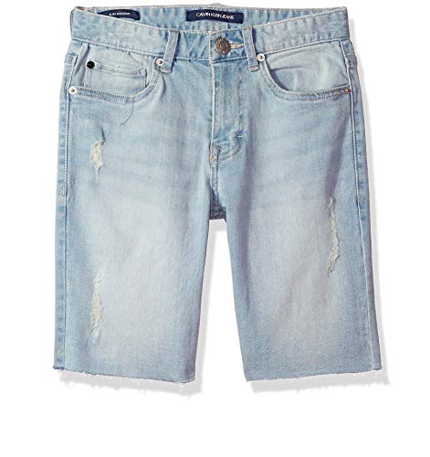 Calvin Klein Boys' Big Denim Short, Sunwash, 16 (Boys Jean Shorts Size 16)